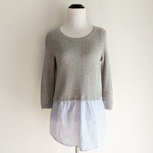 Anthropologie Moth Gray Shirttail Hem Sweater